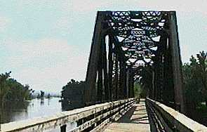 A converted railroad bridge on the Great River State Trail