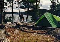 Our island campsite on Kawnipi Lake