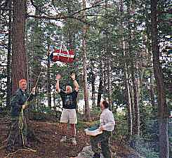 hanging the food bag, algonquin provincial park